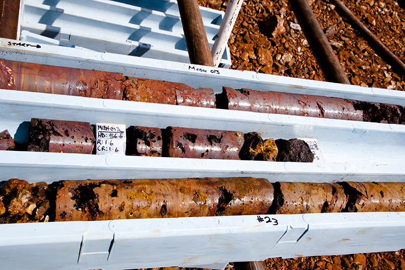 Diamond Tip Drilled Rock Cores of Iron Ore