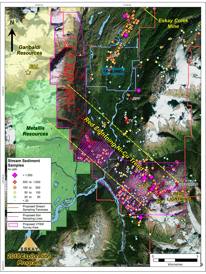 Eskay Mining Corp Announces Non-Brokered Private Placement  and 2018 Exploration Plans: Targeting Nickel and Gold Along Border with Garibaldi Resources