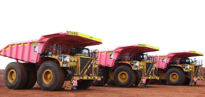 Haul trucks pretty in pink for breast cancer