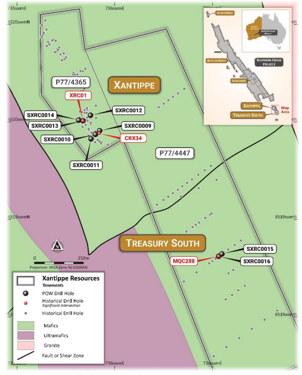 Drill Hole Location Plan for Xantippe and Treasury South Prospects